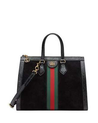 Gucci Ophidia Web Suede Top Handle Tote Bag