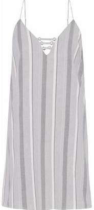 Haute Hippie Cutout Striped Cotton-Blend Twill Mini Dress