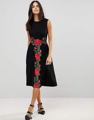 Traffic People Midi Dress With Rose Applique