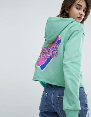 House of Holland Branded Cropped Hoodie