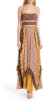 Ulla Johnson Brie Floral Print Silk Blend Maxi Dress