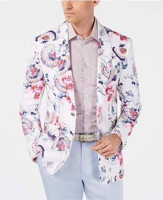 Tallia Men Slim-Fit White Floral Linen Sport Coat