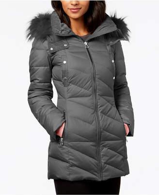 Andrew Marc Faux-Fur-Trim Puffer Coat