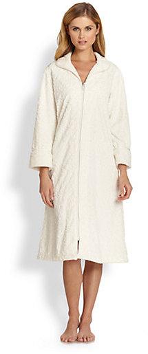 Oscar de la Renta Sleepwear Tapest Plush Zip Robe