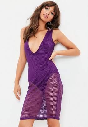 Missguided Mesh Plunge Sleeveless Midi Dress
