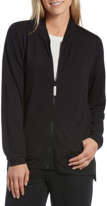 Hue Solid Long-Sleeve Zip-Front Jacket