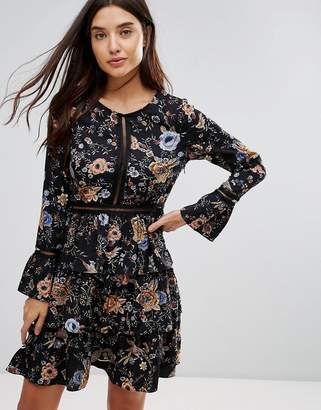 Liquorish Floral Print Skater Dress With Tiered Skirt