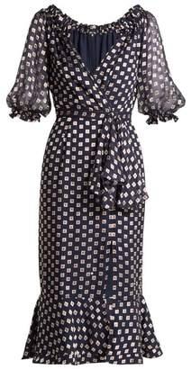 Saloni Olivia Square Print Silk Blend Devore Dress - Womens - Navy Multi