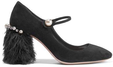 Miu Miu - Feather-trimmed Embellished Suede Mary Jane Pumps - Black
