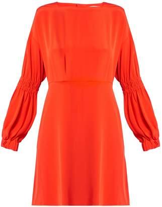 Tibi Balloon-sleeved silk-crepe dress