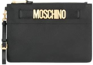 Moschino logo plaque clutch