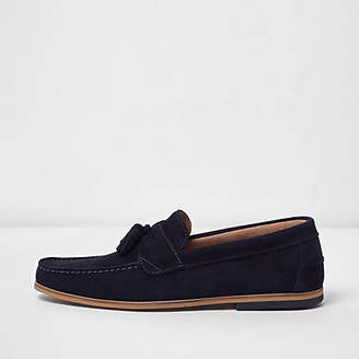 River Island Mens Navy suede tassel loafers