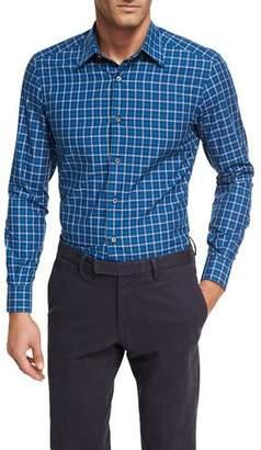 Ermenegildo Zegna Shadow-Plaid Cotton Shirt, Medium Blue