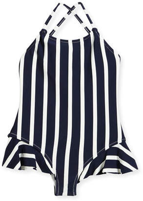 Milly Minis Striped One-Piece Swimsuit w/ Ruffle Trim, Size 4-7