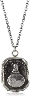 "Pyrrha talisman"" Men's Sterling Bull Engraveable Necklace"