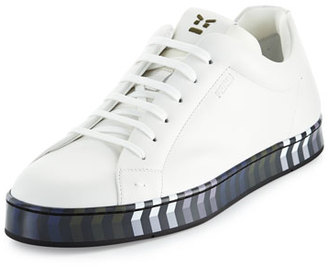 Fendi Leather Low-Top Sneaker w/Chevron Outsole $700 thestylecure.com