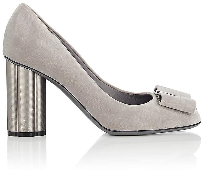 Salvatore Ferragamo Women's Flower-Heel Velvet Pumps