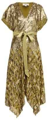 Temperley London Akiko Sequin Embroidered Handkerchief Hem Dress - Womens - Green Multi