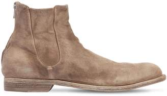Officine Creative Cropped Washed Suede Boots