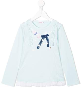 Mikihouse Miki House embroidered trim long sleeve top