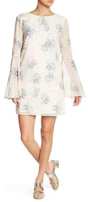 ENGLISH FACTORY Paisley Prism Bell Sleeve Shift Dress