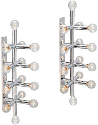 Rejuvenation Pair of 14-Light Chrome Sonneman Wall Lights