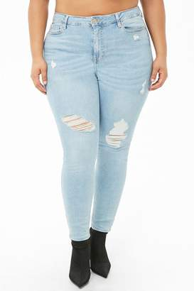 Forever 21 Plus Size Sculpted Distressed Skinny Jeans