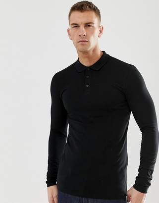 Asos Design DESIGN muscle fit long sleeve polo with stretch in black