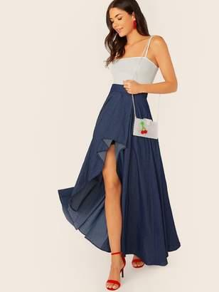 Shein Wide Band Waist Asymmetrical Hem Skirt