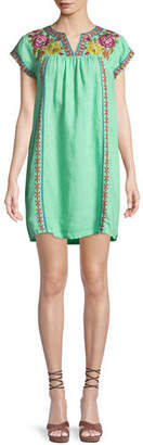 Johnny Was Vella V-Neck Embroidered Shift Dress, Plus Size