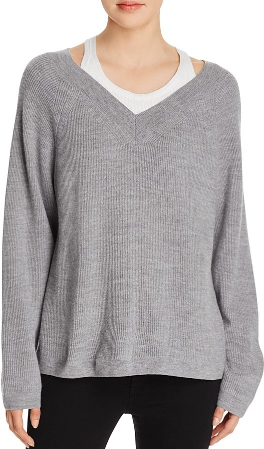 T by Alexander Wang Layered V-Neck Sweater