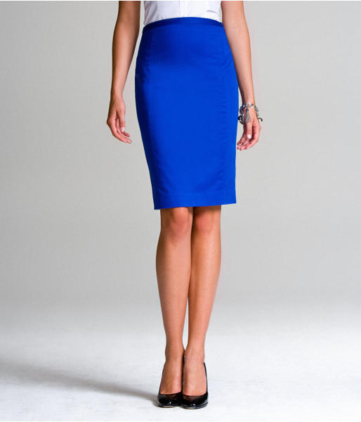 Below-The-Knee High-Waist Cotton Pencil Skirt