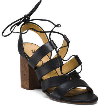 Lace Up Heeled Leather Sandals