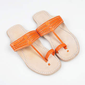 NEW Handmade leather sandals in saffron orange by Banjarans Leather Sandals