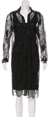 Silvia Tcherassi Lace Long Sleeve Midi Dress