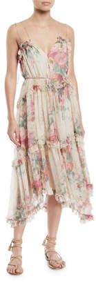 Zimmermann Laelie Floating Floral-Print Sleeveless Ruffle Dress