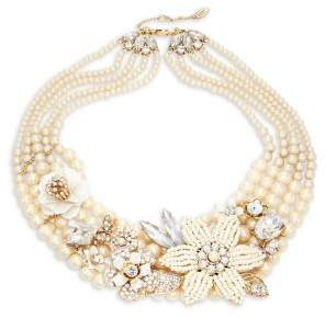 Miriam Haskell Crystal and Faux Pearl-Embellished Statement Necklace
