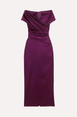 Talbot Runhof Tokara Off-the-shoulder Ruched Stretch Duchesse-satin Midi Dress - Grape