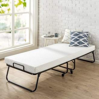 Zinus Roll Away Folding Guest Bed with 4 Inch Comfort Foam Mattress, Narrow Twin