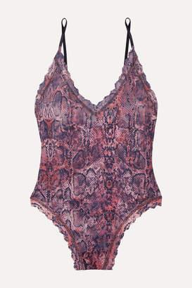 Hanky Panky Snake-print Stretch-lace Thong Bodysuit - Pink