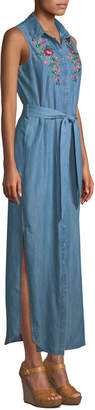 Neiman Marcus Sleeveless Embroidered Chambray Maxi Shirtdress