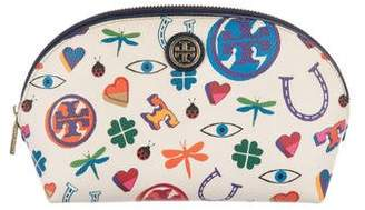 Tory Burch Printed Coated Canvas Zip Cosmetic Bag