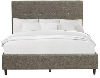 Mid-Century MODERN HomeFare Grey Upholstered Queen Bed Headboard
