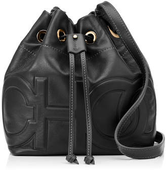 Jimmy Choo JUNO/S Black Nappa Leather Drawstring Bag with Embossed Choo Logoing