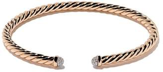 David Yurman 18kt rose gold Cable Spira diamond cuff bracelet