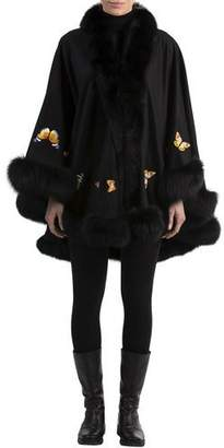 Gorski Butterfly-Embroidered Cashmere Cape with Fox Fur Trim, Black