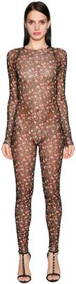 DSQUARED2 Flowers Printed Tulle Stretch Jumpsuit