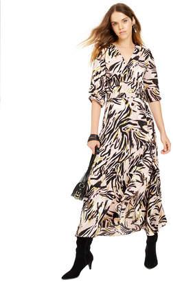 Bar III Printed Wrap Maxi Dress