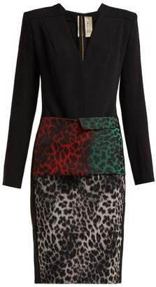 Roland Mouret Jalore Leopard Print Cady Dress - Womens - Black Multi