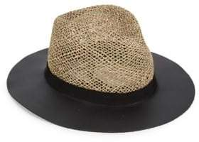 Eugenia Kim James Leather-Trim Straw Hat